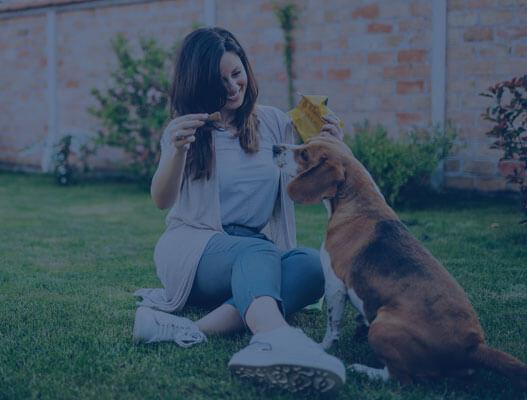 Woman in grass with dog because of reduced risk products